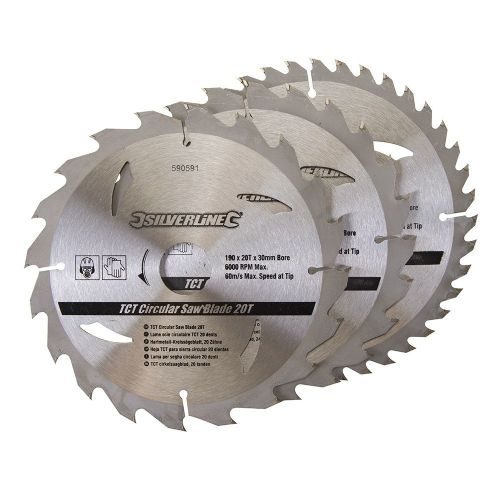 3 Pack Silverline 590591 TCT Circular Saw Blades 20, 24, 40 Teeth 190mm x 30mm
